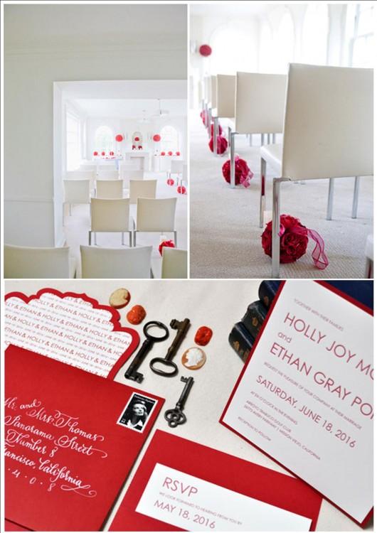 Свадьба в красном цвете зимой